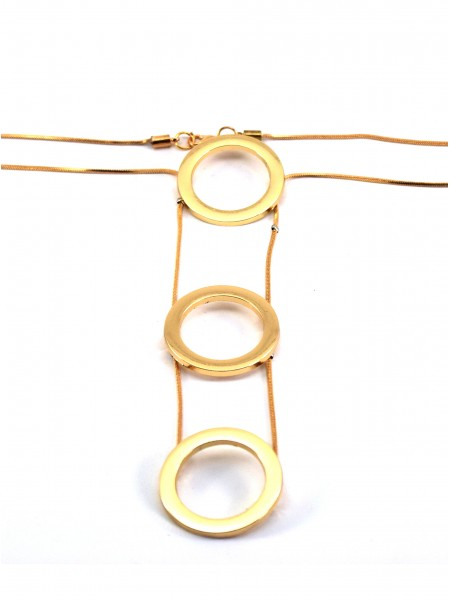 Ожерелье три золотистых кольца на цепочке