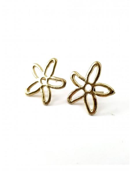 Серьги золотой цветок