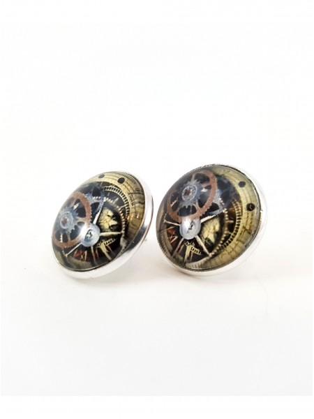 Серьги стимпанк часы серебряные