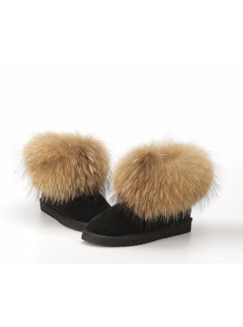 Сапоги женские короткие с мехом лисы (Черный)